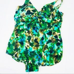Catalina Blue Green Skirt Swimsuit 2X 18-20W